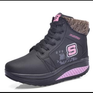 Зимние ботинки Aliexpress Winter Plus Velvet Warm Women Wedge Casual Shoes Outdoor Waterproof Height Increasing Snow Boots Shoes Woman Black фото