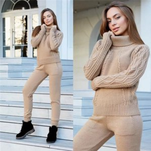 Костюм AliExpress Winter wool cashmere knitted warm suit turtleneck sweater cashmere trousers two-piece set knitted suit loose sweat suit фото
