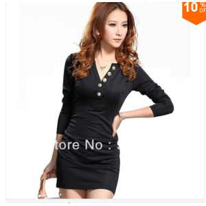 Платье AliExpress  new 2014 sexy dress fashion autumn winter women dress brief slim long sleeve dresses Color Black Blue Red Beige size s,m,l,xl, Чёрное, М фото