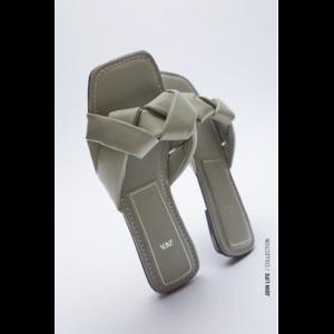 Сандалии Aliexpress Zara Dsigner Shoes 2021 New Summer Khaki Green Woven Women's Slippers ACTS The role of Sheet Leather Flat Sandals фото