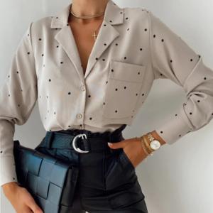 Блузка AliExpress Women Polka Dot Office Blouse Cotton Turn-down Collar Long Sleeve Casual Shirt With Pockets Spring New 2021 фото