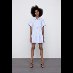 Платье AliExpress Ярусное 2021 New Solid Zara Shirt Lapel Bow With Elastic Waistband Layered Ruffle Shirt Dress Ldyllic Style Refreshing Simple Chic Dress фото