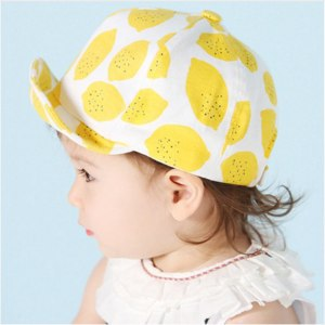 Кепка AliExpress Fashion Lemon Print Children Hats Cute Cotton Baby Hat Summer Caps for Girls Boys with Soft Brim for 6-18 Months KUKUJI фото