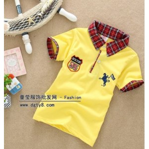 Поло AliExpress New fashion boy clothes Children collar short-sleeved baby button pullover summer baby clothes фото