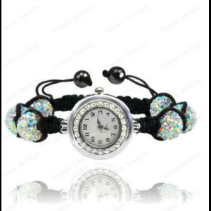 Часы женские Aliexpress Crystal Watch Jewelry 10mm Crystal AB Clay Disco Ball Crystal Bracelet Watch Bracelet Bangle Mix Colors Free Shipping фото
