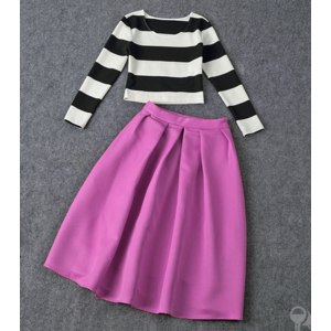 Женская одежда AliExpress New 2015 spring crop top and skirt set limited edition full corporate skirt suit retro fashion women work wear loose-fitting striped long section suits фото