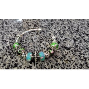 Браслет Aliexpress european style silver glass charm bracelets and bangles lampwork beads glass bead bijoux jewelry PA3021 фото