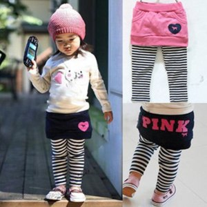 Леггинсы AliExpress Skirt Pants Fashion Child Stripe Faux Two Piece Culottes фото