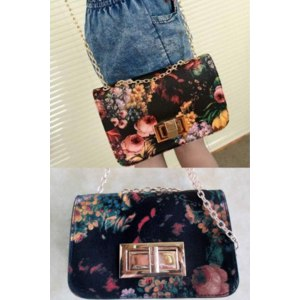 Сумка женская Aliexpress 2013 vintage oil painting flower lock bag chain mini messenger bag small bags free shipping фото