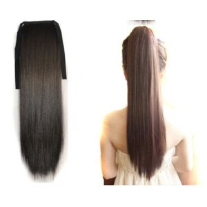 "Накладные волосы Aliexpress Накладной хвост 22""(55cm) 90g straight ribbon ponytail hairpiece hair pieces clip in hair extensions 7 color WAB-H0001 фото"