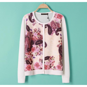 Кардиган AliExpress SW591 New Fashion Ladies' elegant floral pattern Knitted cardigan coat casual slim long sleeve buttons outwear sweater brand top фото