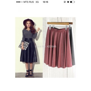 Юбка AliExpress Vintage high waist skirt pleated bust PU faux women leather skirts expansion skirt  (A2395) фото
