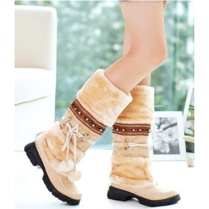 Зимние сапоги Aliexpress Fashion Half Over Knee High Snow Boots For Women Platforms shoes beaded Furry Warm Winter Boots free shipping size 35-40 фото