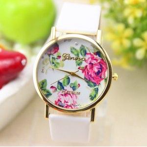 Часы Aliexpress New fashion leather roses GENEVA watches for women's dress watch quartz watch 1pcs/lot фото