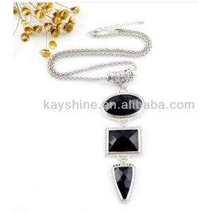 Бижутерия Aliexpress Black Large Imitation Geometry silver Gemstone Color Pendant Long Chain Neckalce for women фото