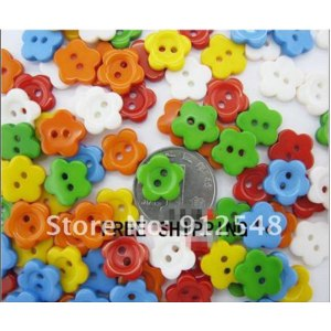 200 Pcs Random Mixed Flower 2 Holes Resin Sewing Buttons 14mm Dia.HUAXING001 фото