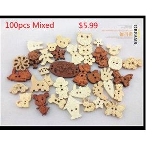 Деревянные пуговицы Cutedream bulk buttons natrual wooden buttons mixed for craft 100pcs фото