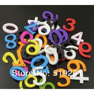200pcs New Fashion Multicolor Wooden Arabic Numerals Decorate Fit DIY Jewelry Finding фото