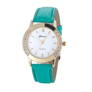 Часы женские Aliexpress Newest Flower Printed Watches Fashion Women Diamond Crystal Analog Quartz Wristwatch Rhinestone Lady Dress Leather Reloj Relogio фото