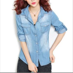 Джинсовая рубашка AliExpress Casual Woman Tops Summer Round Neck Long Sleeve Jean Shirt Korean Stylish Woman Shirts Turn Down Collar Women's Clothing WSH144 фото