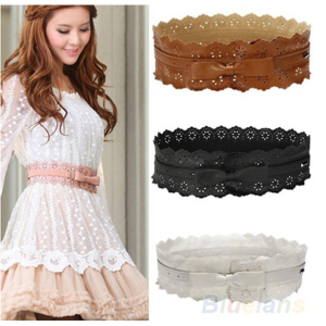 Ремень женский Aliexpress Womens Vintage PU Leather Hollow Flowers Lace Bowknot Wide Waist Waistband Belts 1HLE фото