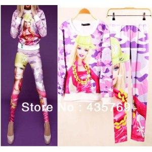 Костюм AliExpress 2014 Barbie 3D print Hoodie Suit Sportswear for women  фото