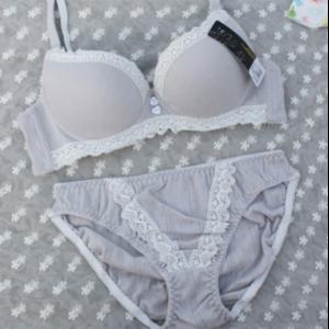Комплект трусы и бюстгальтер  Aliexpress Rustic pink 100% cotton comfortable bamboo thin lace young girl bra set sexy underwear set wholesale&retail фото