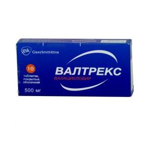 Противовирусные средства GlaxoSmithKline Pharmaceuticals SA Валтрекс  500мг фото