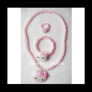 Детская бижутерия Aliexpress cheap hello kitty jewelry, children jewelry set in pink-HN1 фото