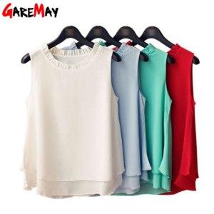 Топ AliExpress GAREMAY Women Summer Tops Sleeveless Feminine Blouses Plus Size Loose Ruffle White Shirt Fashion Chiffon Blouse For Women 001A фото
