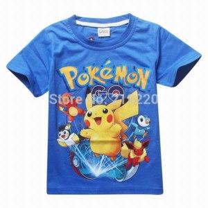 Футболка AliExpress New Summer children kids Shorts t-shirts cotton Pokemon Go boys girll tops tees фото