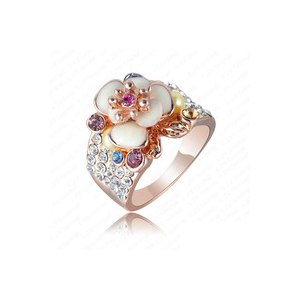 Кольцо Aliexpress Hotting Sale Jewelry Ring With Rose Gold Plate SWA Elements Austrian Crystal  Enamel Flover/Wedding Ring For Women Ri-HQ0155 фото