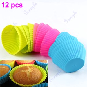 Силиконовая форма для выпечки  AliExpress Free Shipping 12pcs Soft Silicone Round Cake Muffin Chocolate Cupcake Liner Baking Cup Mold фото