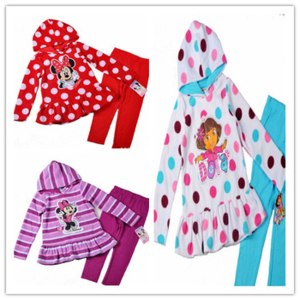 Костюм AliExpress Children Spring outfits girls minnie dora dresses with leggings 2pcs suits  фото