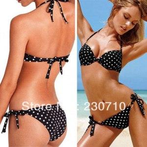 Купальник AliExpress 2014 New arrival! Women swimsuit polka dot patterns bikini beach push up swimwear Suit for slim lady Freeshipping FZ 140 фото