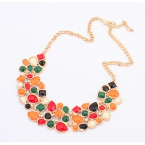 Бижутерия Aliexpress 161#Min.order is $10 (mix order), Europe and the United States luxury fashion retro geometric mosaic all-match Necklace фото