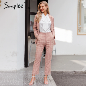 Костюм AliExpress Simplee Fashion plaid women blazer suits Long sleeve double breasted blazer pants set Pink office ladies two-piece blazer sets фото