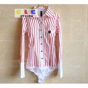 Рубашка женская AliExpress On sale new 2014 women's fashion OL turn down collar Striped slim fit long sleeve office body shirts women plus size,LH9503A фото