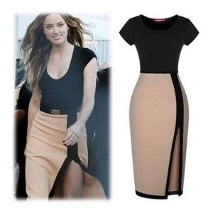 Платье AliExpress 2014 Summer Women Dress Split Mixed Colors Slim , Elegant And Stylish Dress, Pencil Women's Dresses фото