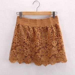 Юбка AliExpress New Hot Sexy Fashion Cotton Crochet + Mercerized lining Mini Lace Tiered Short Skirt Under Safety Pants  фото