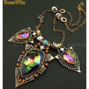 Ожерелье Aliexpress Indian Style Fashion Long Chain Vintage Bright Big Coloured Glaze Pendants Statement Necklaces Free Shipping CE1017 фото