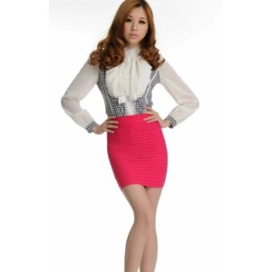 Юбка AliExpress Mix Order 2012 Women Candy colors slim hip short bust pure cotton bag hip render skirt 1906 фото