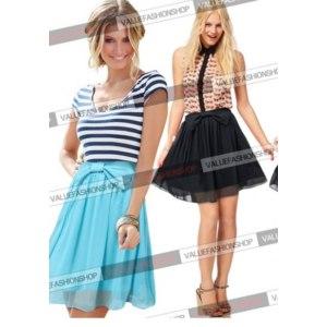 Юбка AliExpress New Women Summer Fashion Chiffon Solid Pleated Bow Elastic High Waist Cocktail Party Club Casual Mini Skirt 685 фото