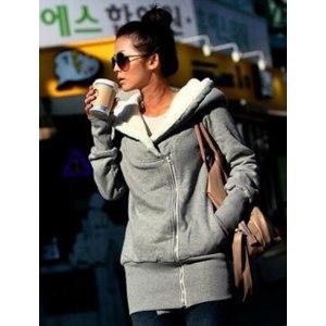 Толстовка AliExpress New 2014 Korea Women Hoodies Coat Warm Zip Up Outerwear Sweatshirts M-2XL 4Colors Black Gray Pink Blue W5200B фото