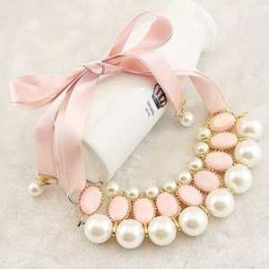 Бижутерия Ebay Women New Fashion Luxury Sweet Pearl Ribbon Bib Choker Statement Collar Necklace фото