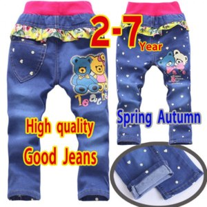Джинсы AliExpress Free shipping 2015 new spring autumn1-9Y child pants baby boy pants elastic waist boys trousers children's clothing / kids jeans фото