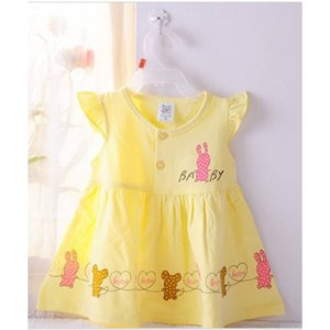 Платье детское AliExpress Free shipping Summer baby clothing Cotton Cartoon Printing 3 colors Sleeveless 6M-24M Baby Dress фото