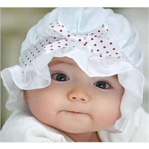Шапочка Aliexpress Summer Newborn Baby Silk+Lace Sun Polka Dots Beanie Hat Girl Boy cute White Pink Cool Cap 2-12 Months Head circumference 44cm фото
