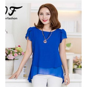 Блузка AliExpress 2016 Summer Plus Size Women Chiffon Blouses Shirt O Neck Short Sleeve Double Irregular Solid Fashion Casual Lady Top Women Blusa фото