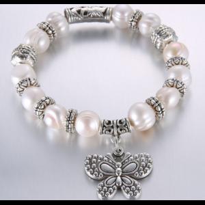 Браслет Aliexpress С речным жемчугом 2014 New Arrival Hot Sale New Fashion Jewelry Freshwater Pearl Bracelet With Tibetan Silver Pendant Vintage Gifts фото